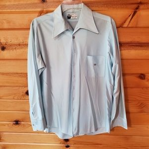 1970s JCPenney Baby Blue Polyester Dress Shirt